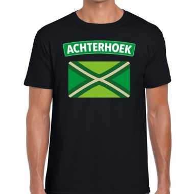 Achterhoeks t-shirt met vlag bedrukking zwart voor heren prijs