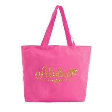 Aloha boodschappentas / strandtas fuchsia roze 47 cm prijs