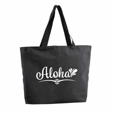 Aloha boodschappentas / strandtas zwart 47 cm prijs
