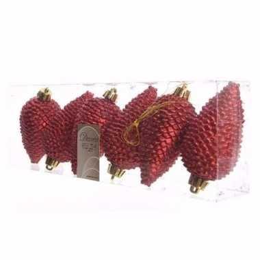Ambiance christmas kerstballen dennenappelvorm glitter rood prijs