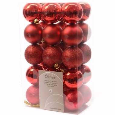 Ambiance christmas kerstboom decoratie kerstballen 6 cm rood 30 stuks