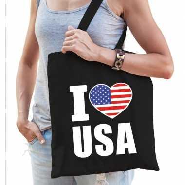 Amerika schoudertas i love usa zwart katoen prijs