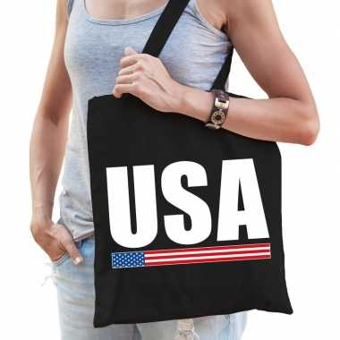 Amerika supporter schoudertas usa zwart katoen prijs