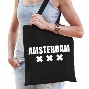Amsterdam schoudertas zwart katoen prijs