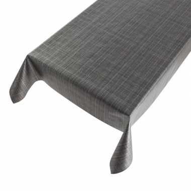 Antraciet grijze tafelkleden/tafelzeilen tweed print 140 x 245 cm rec