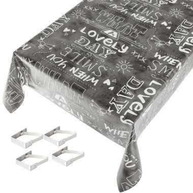 Antraciet grijze tafelkleden/tafelzeilen witte teksten print 140 x 24