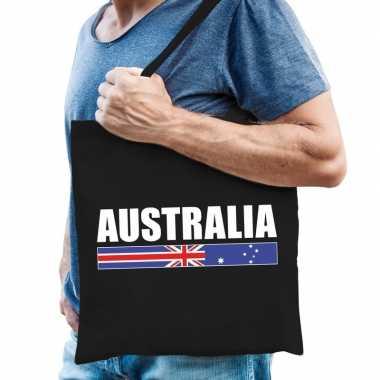 Australie supporter schoudertas australia zwart katoen prijs