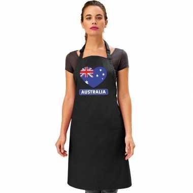 Australische vlag in hart keukenschort/ barbecueschort zwart heren en