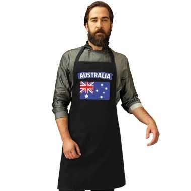 Australische vlag keukenschort/ barbecueschort zwart heren en dames p
