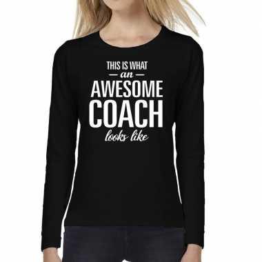 Awesome coach cadeau t-shirt long sleeve zwart voor voor dames prijs