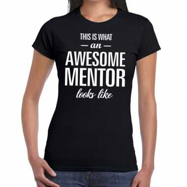 Awesome mentor fun t-shirt zwart voor dames - bedankt cadeau voor een