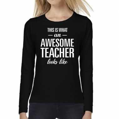 Awesome teacher cadeau t-shirt long sleeve zwart voor voor dames prij