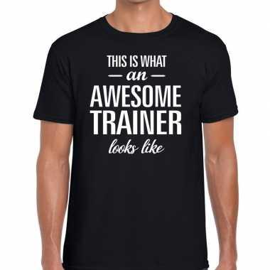 Awesome trainer fun t-shirt zwart voor heren - bedankt cadeau voor ee