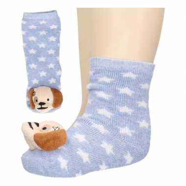 Baby sokjes lichtblauw met hondenkop prijs