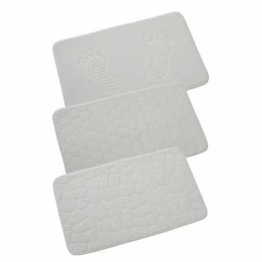 Badkamermat met honingraat wit 80x50 cm prijs