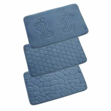Badkamermat met steentjes blauw 80x50 cm prijs