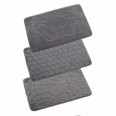 Badkamermat met steentjes grijs 80x50 cm prijs