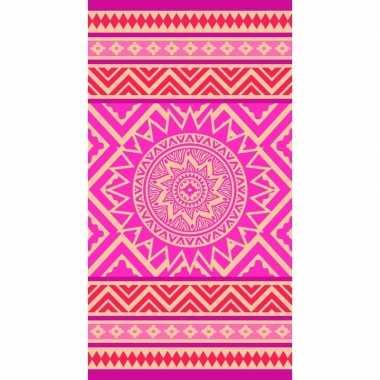 Badlaken met roze/oranje mandala print mancora voor kinderen 86 x 160