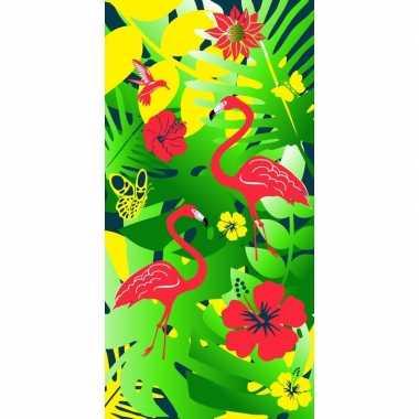 Badlaken tropsiche print flamingos voor kinderen 70 x 140 cm prijs