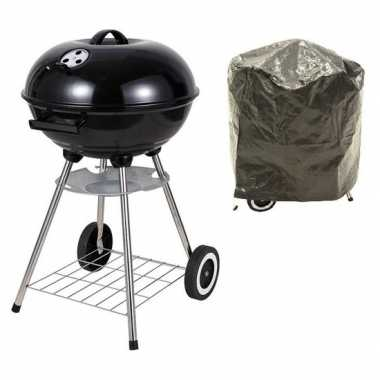 Barbecuegrill op wielen met deksel en hoes rond zwart prijs