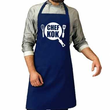 Bbq schort chef kok kobalt blauw voor heren prijs