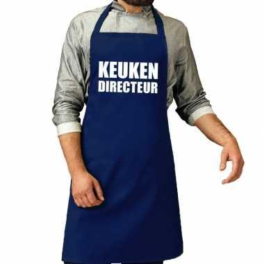 Bbq schort keuken directeur kobalt blauw voor heren prijs