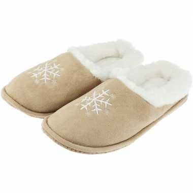 Beige instapper sloffen/pantoffels met sneeuwvlok/pluche voor heren p
