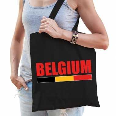 Belgie supporter schoudertas belgium zwart katoen prijs