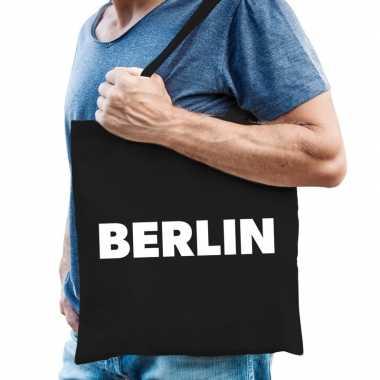 Berlijn schoudertas zwart katoen met berlin bedrukking prijs