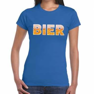 Bier fun t-shirt blauw voor dames prijs