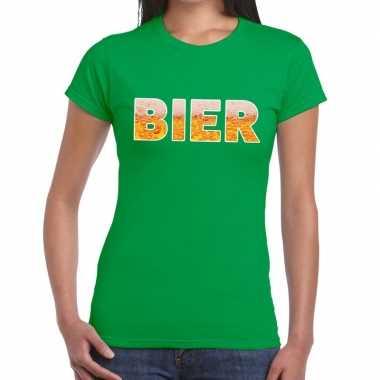 Bier fun t-shirt groen voor dames prijs