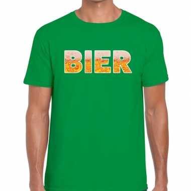 Bier fun t-shirt groen voor heren prijs