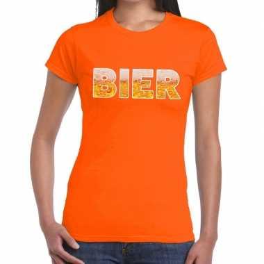 Bier fun t-shirt oranje voor dames prijs