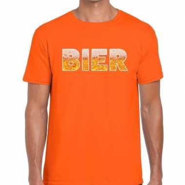 Bier fun t-shirt oranje voor heren prijs