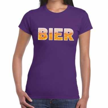 Bier fun t-shirt paars voor dames prijs