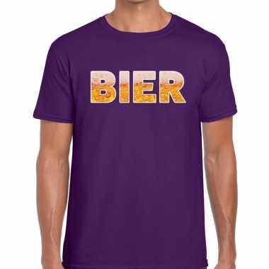 Bier fun t-shirt paars voor heren prijs