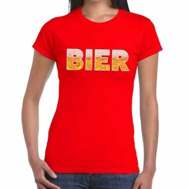 Bier fun t-shirt rood voor dames prijs