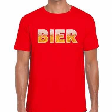 Bier fun t-shirt rood voor heren prijs