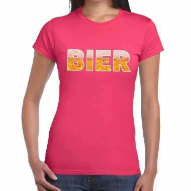 Bier fun t-shirt roze voor dames prijs