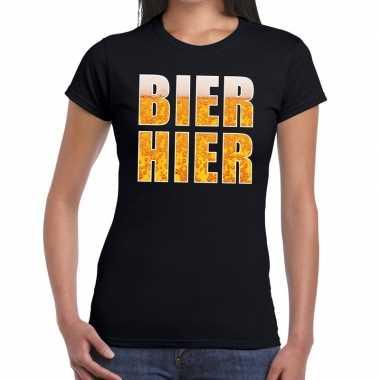 Bier hier fun t-shirt zwart voor dames prijs