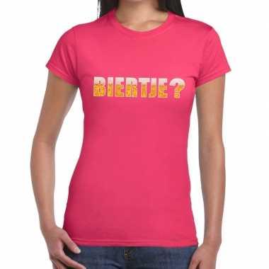 Biertje fun t-shirt roze voor dames prijs