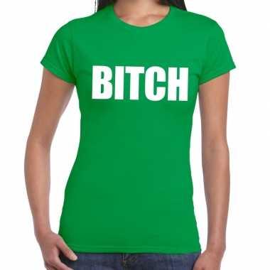 Bitch fun t-shirt groen voor dames prijs