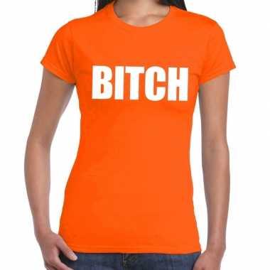 Bitch fun t-shirt oranje voor dames prijs