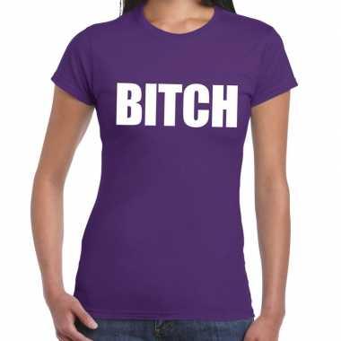 Bitch fun t-shirt paars voor dames prijs