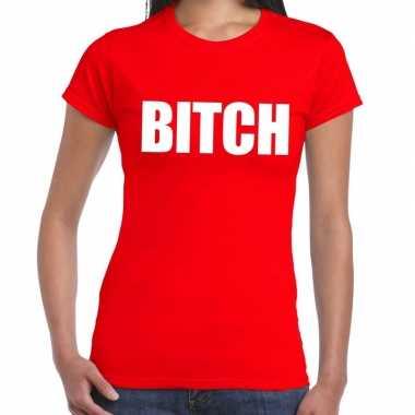 Bitch fun t-shirt rood voor dames prijs