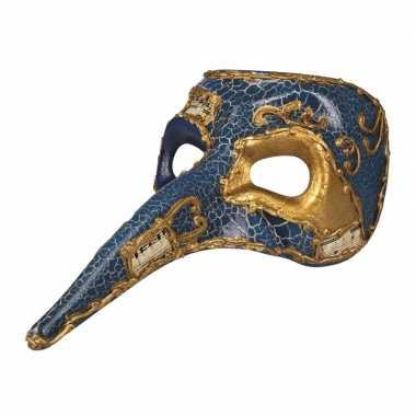 Blauw mysterieus snavelmasker glimmend voor heren prijs