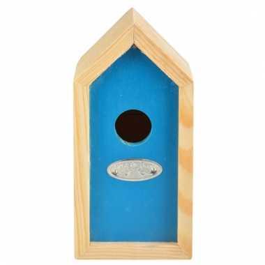 Blauw nestkastje voor kleine tuinvogels 10x11x20 cm prijs