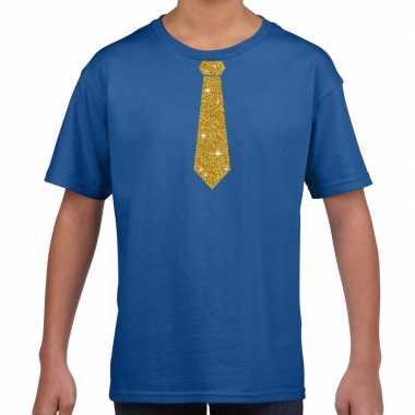 Blauw t-shirt met gouden stropdas voor kinderen prijs