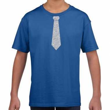 Blauw t-shirt met zilveren stropdas voor kinderen prijs