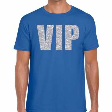 Blauw vip zilver fun t-shirt voor heren prijs